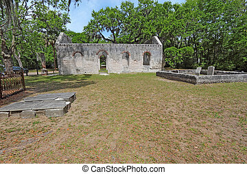Ruins of the Chapel of Ease and graveyard near Beaufort, South Carolina