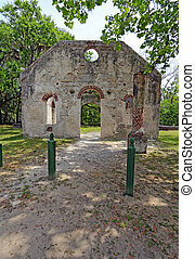 Ruins of the Chapel of Ease near Beaufort, South Carolina vertical