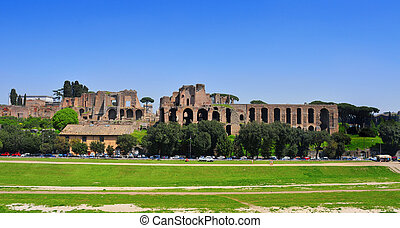 Ruins of the Domus Augustana on Palatine Hill in Rome, Italy