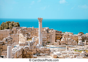 Ruins of the early Christian basilica at Kourion ...