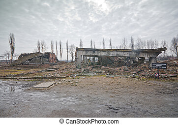Ruins of the gas chamber 2 in the Auschwitz II-Birkenau in...