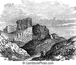 Ruins of the Main Palace in Babylonia vintage engraving. -...