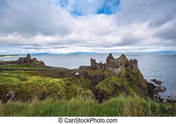 Ruins of the medieval Dunluce Castle in Northern Ireland