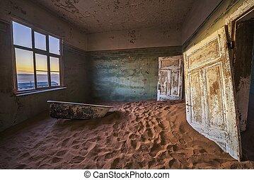 Ruins of the mining town Kolmanskop in the Namib desert near Luderitz in Namibia