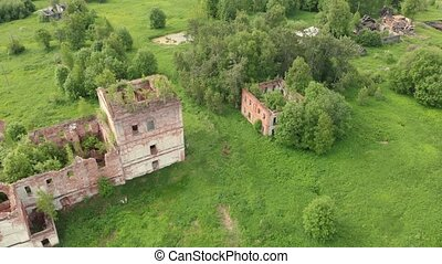 Ruins of the old orthodox church in an abandoned village in the middle zone of Russia, Vologda region