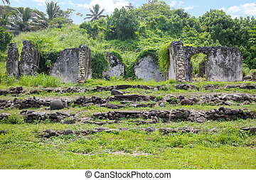 Ruins of the old Pa Ariki Palace in Rarotonga Cook Islands