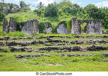 Ruins of the old Pa Ariki Palace in Rarotonga Cook Islands