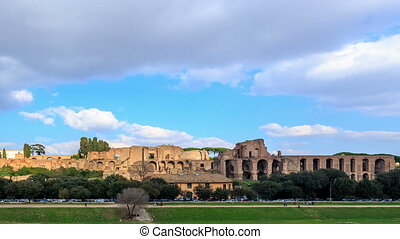Ruins of the Palatine Hill is the centermost of the Seven Hills. TimeLapse, Rome, Italy