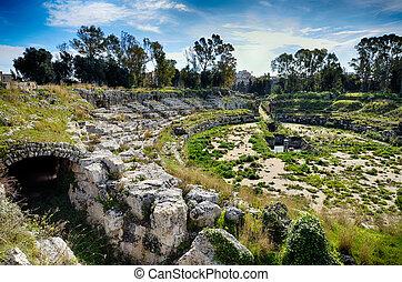 Ruins of the Roman amphitheater in Syracuse Neapolis