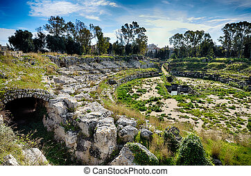 Ruins of the Roman amphitheater in Syracuse Neapolis