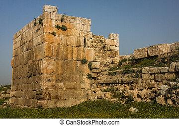 Ruins of the roman fortifications in Amman, Jordan