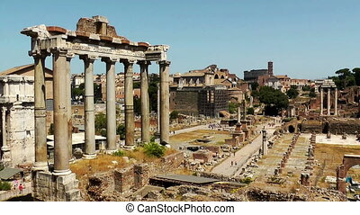 Ruins of the Roman Forum. Italy. Time lapse video.