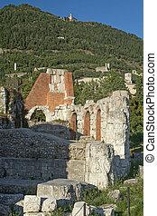 Ruins of the Roman theater in Gubbio (Umbria, Italy)