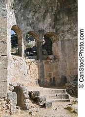 Ruins of the church of St. Nicholas on Gemiler Island, Turkey