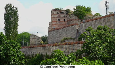 Ruins of the Theodosian Walls of Constantinople - Wide shot...