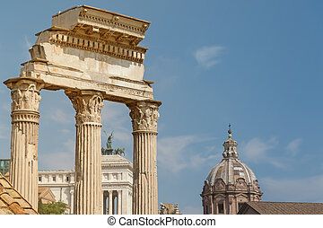 Ruins of the three columns in Forum Romanum. Rome. - Ruins...