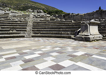 Ruins of theater in ancient city of Messinia, Peloponnese, Greece
