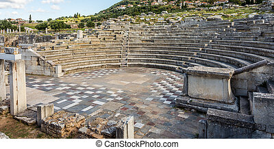ruins of theater in Ancient Messinia, Greece - ruins of...