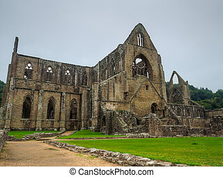 Ruins of Tintern Abbey, a former church in Wales - View from...