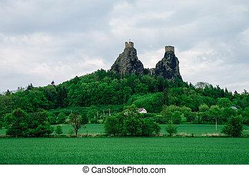 Ruins of Trosky castle in Bohemian Paradise region, Czech Republic, Europe