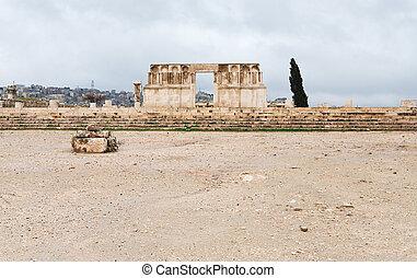 ruins of Umayyad Mosque in antique citadel in Amman, Jordan