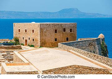 Ruins of venetian fortress Fortezza in Rethymno on Crete Island, Greece