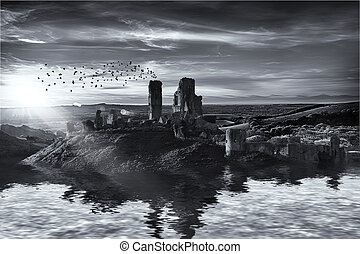 Ruins on the water landscape