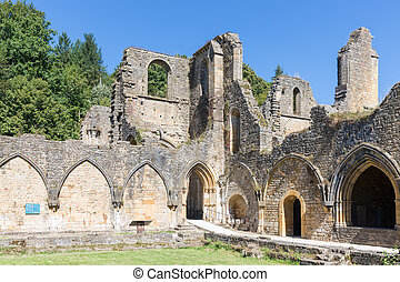 Ruins Orval Abbey in Belgian Ardennes.