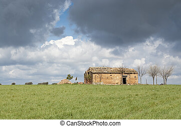 Ruins in an agrarian landscape in Ciudad Real (Spain)