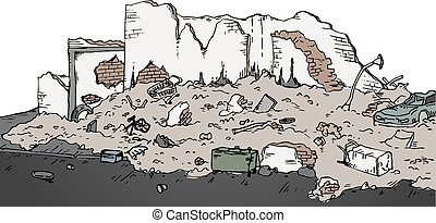 ruins street vector illustration - Creative design of ruins...