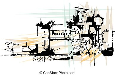 Ruins - Stylized illustration of a town in ruins. Eps10