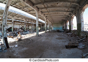 Ruins, view of an old abandoned Industrial interior