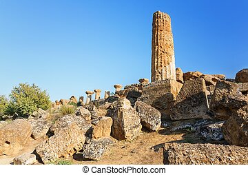 Ruins which are a symbol Valley of the Temples, Agrigento, Sicily.