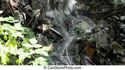 ruisseau, écologie, fluxs, nature, forêt, disaster., plastique, chute eau, déchets