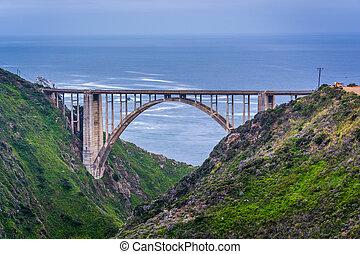 ruisseau, grand, bixby, vue, pont, california.