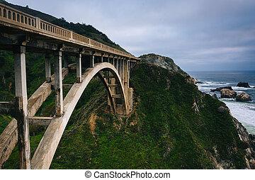 ruisseau, grand, rocheux, california., pont, vue