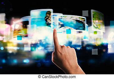 ruisseler, écran, technologie