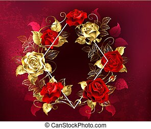 ruit, met, rozen