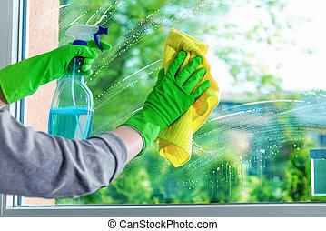 ruit, poetsen, venster, wasmiddel