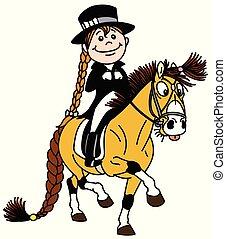 ruiter, dressage, pony., paardrijden, meisje, spotprent