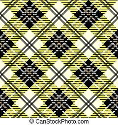 ruitjes, eps10, weefsel, pattern., seamless, textuur, strepen, donker, checkered, black , gele achtergrond, tartan, witte , design., levendig