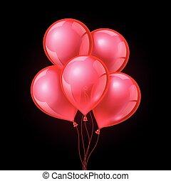 ruitjes, feestelijk, vrijstaand, illustratie, achtergrond., vector, ballons, transparant, rood