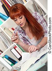 ruivo, estudar, difícil, exames, dela
