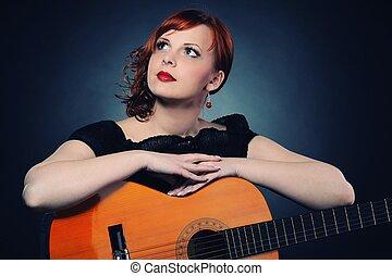 ruivo, guitarra, atraente, mulher