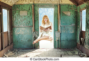 ruivo, levitating, mulher, livro