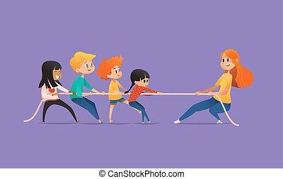 ruivo, professor feminino, mostrando, quadro, para, crianças, sentando, ao redor, tabela redonda, em, classe, com, laptop, e, tabuleta, pc., crianças, usando, dispositivos, durante, lição, em, primário, school., coloridos, vetorial, illustration.