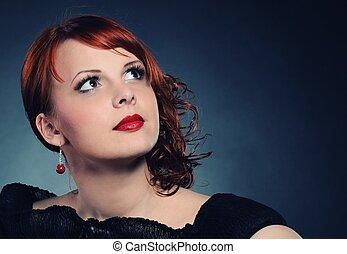 ruivo, retrato, mulher, atraente