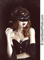 ruivo, vampiro, mulher, em, máscara, com, vidro, de, blood.