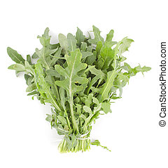 Rukola - Bunch of fresh green rukola on white background