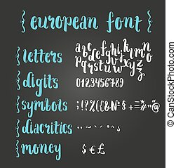rukopis, alphabet., kartáč, evropský